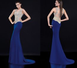 Wholesale Royal Blue Evening Dresses Tarik Ediz Prom Gowns Applique Beads V Neck Sheer Back Tarik Ediz Mother of The Bride Dresses New Vestidos