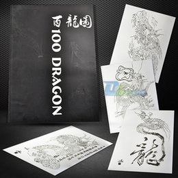 Wholesale New Design DRAGONS Flash Body Art Manuscript Outline Tattoo Book A3 Page
