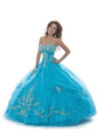 Wholesale La luz azul vestidos de quinceañera del cuello del amor con cordones Lentejuelas los granos del dulce del vestido de bola del Debutante vestidos Dhyz