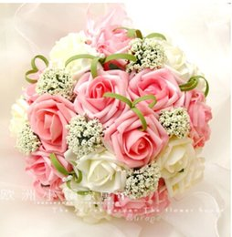Wholesale 2015 Colorful Artificial Wedding Bouquets for Bride Hand Holding Flowers Cheap Wedding Favors Silk Wedding Bouquet Flowers WX