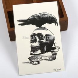 Wholesale 2015 HOT Temporary Tattoo waterproof sexy arm tattoo body art Crow VS Skull big fake tatoo stickers HC2015