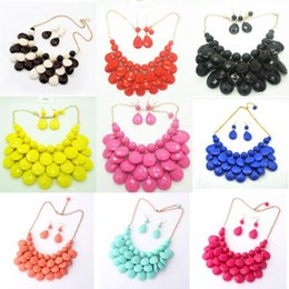 Wholesale colorful Resin drops Necklace Earrings kit Jewelry Sets Statement Necklaces for women lady match Wedding Dresses Bride gift