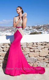 Wholesale 2015 Tarik Ediz Formal Evening Dresses Belted Two Tone Evening Gowns