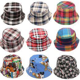 Wholesale Children Grid Sun Hats Kids Girls Boys Cartoon Bucket Hats Baby Summer Travel Cotton Caps New Design High Quality DCBF80