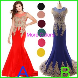 Wholesale Sheer Neck Prom Evening Dresses Embroidery Real Image Red Black Burgundy Royal Blue Formal Wedding Party Gowns Wear Arabic Plus Size