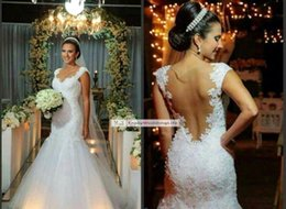 Wholesale 2016 New Lace Mermaid Wedding Dresses Cap Sleeves Lace Applique Illusion Back Court Train Bridal Gowns BO7887