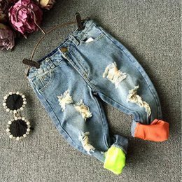 Wholesale High Quality Baby Boys Jeans Clothes Europe And America Children Holes Washed Denim Hip Hop pants Kids Casual Trousers