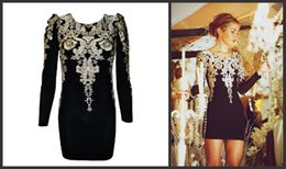 Wholesale Fashion Gold Embroidered Vintage Long Sleeve Party Dresses for Christmas Black Short Mini Sheath Party