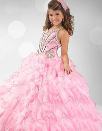 Wholesale 2015 Little Girls Pageant Dresses Pink Lovely Ball Gowns Spaghetti Beaded Appliques Bodice Organza Formal Pageant Gowns For Girls Cheap