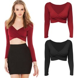 Wholesale Blusas Femininas Blouse Deep V Neck Casual t shirt Crop Tops Pleated Women Top Punk tshirt Shirts Cross Front Clothing G0956
