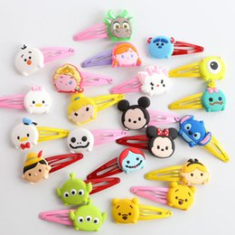 Wholesale 300pcs TSUM TSUM Cartoon Hair Clips Mickey Elsa Anna Olaf Stitch Scrump Girls Hairpins Children Hair Accessories For Christmas gift HX