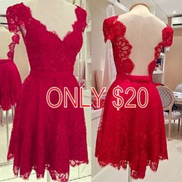 Wholesale 2015 Lovely Red Lace Casual Dresses with Short Sleeve A Line V Neck Short Mini Prom Party Dresses for Women s Clothing Dresses