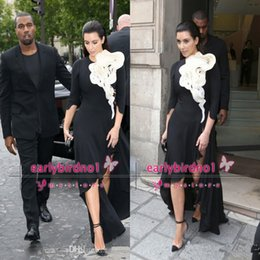 Wholesale 2015 Kim Kardashian Evening Dresses Long Sleeve Big Ruffles Flower Black Skirt Side Slit High Low Red Carpet Celebrity Prom Gowns BO6569