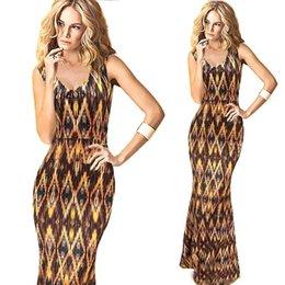 Wholesale 2015 Summer Maxi Print Dresses V Neck Sleeveless Bodycon Long Women Casual Dresses Fashion Women s Clothing