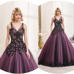 Wholesale Sexy Spaghetti Strapless Purple Colorful Wedding Dresses With Appliques Ball Gown Tulle Sweep Train Formal Cheap Wedding Bridal Gowns