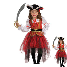 Wholesale Fancy Infant Party Dresses Pirate Children Halloween Party Pumpkin Costume Girl Dress For Kid Fantasia Y021