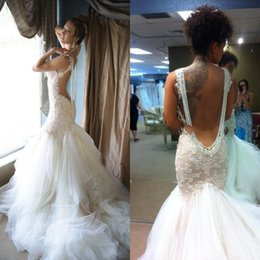 Wholesale 2015 Sexy Corset Lace Organza Bridal Gowns with Tassesl Nude Back Best Seller Trumpet Mermaid Wedding Gowns with Chapel Train Customized