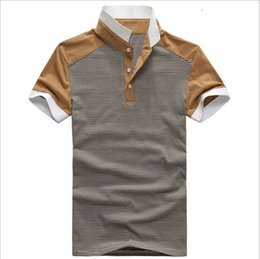 Wholesale 2015 New Arrivals Men s POLO Shirt Fashion Striped Stand Collar POLO Shirt For Men Casual Loose Short Sleeve POLO Shirt S XXL
