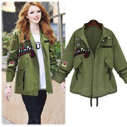 Wholesale Large Size Women Fall Clothing New Arrival Windbreaker Jacket Star Models Thin Coat Army Green S M L XL B