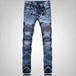 Wholesale 2015 Men Classic Jeans Balmain Skinny Jeans Blue Knee Drape Panel Moto Biker Jeans Fashion Style Pants