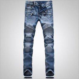 Wholesale Balmain Men Classic Jeans Skinny Jeans Blue Knee Drape Panel Moto Biker Jeans Fashion Style Pants