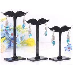 Wholesale 3 sizes one set Multi style black Acrylic tree shape ear stud earring display tree stand holder jewerly display set