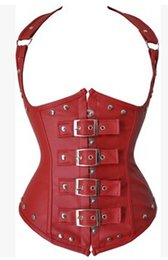 Wholesale Top quanlity Black Red Full Steel boned Leather Corsets womens bodyshaper gothic clothing Sexi Clubwear