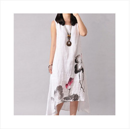 Wholesale 2017 women plus size loose dresses Linen dress loose o neck summer without sleeves Vintage style flower printed long dress in drag
