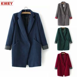 Wholesale 2014 Abrigo De Invierno Las Mujeres Manteau Femme Contrast Color Woolen Coat Jacket Leisure Abrigo Mujer Invierno NZ1404