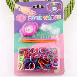 Wholesale Newest DIY Knitting Braided loom Watch Rainbow Kit Rubber Loom Bands Self made Silicone Bracelet Watch Rubber Clip Hook