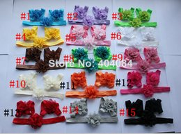 Wholesale 15colors sets Baby Barefoot Sandals and Headband sets Barefoot Sandals Baby Newborn Headband Accessory