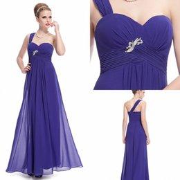 Wholesale 2015 Hot Sale A Line Bridesmaid Dresses One Shoulder Beads Sequins Pleated Chiffon Long Party Dress Prom dresses Under