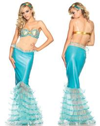 Wholesale uniforme atractivo al por mayor de las mujeres mística de la sirena del vestido largo de la danza del traje de sirena azul CB9380