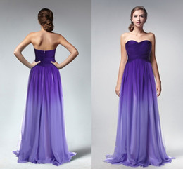 Wholesale Purple Gradient Ombre Dresses Prom Dress Sweetheart Evening Wear Formal Party Gown New Celebrity Gowns Bridesmaids Dress Criss Cross Piping