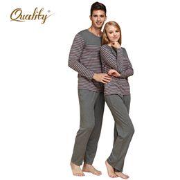 Wholesale QianXiu New Modal Cotton Women and Men Sleepwear Classic Stripe sleepshirt Long sleeve Lovers Pajamas Set drop shipping