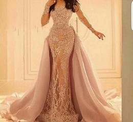 Wholesale Gorgeous Elie Saab Lace Applique Long Sleeves Evening Dresses Detachable Skirt Scoop Neck Mermaid Prom Dress Party Gowns