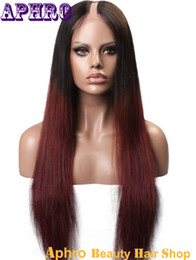 Discount ombre two tone color virgin hair Two Tone Black 99J Red Silky Straight Brazilian Virgin Hair Lace Front Wigs Ombre Hair 130%Density Glueless Human Hair U Part Wigs For Sale