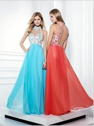 Wholesale bling dresses hot sexy high neck evening gowns a line floor length coral aqua blue chiffon backless prom dresses