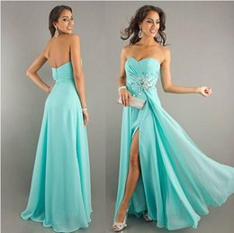 Wholesale Sweetheart Zipper Back Long Mint Green Prom Dresses Classic Crystals Beaded Formal Dresses with Split Cheap Prom Under Custom FY833