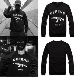 Wholesale 2014New men women GIV DEFEND PARIS AK47 Automatic rifles print pullover Long Sleeve Hip hop D Sweatshirts Hoodies sweaters Tops