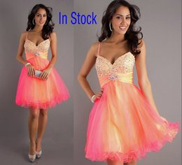 Wholesale In Stock Spaghetti Sweetheart Tulle Short Prom Party Dresses A line Sheer Colorful Beads Homecoming Cocktail Gowns Cheap Real Image