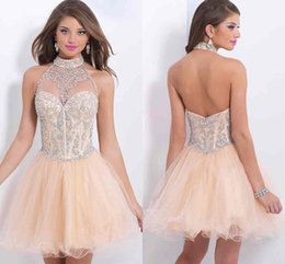 Wholesale 2015 Tulle Halter Homecoming Dresses Short Mini Sleeveless Beads Ruffle Piping Backless A Line High Quality Cocktail Dress Hot sj4717