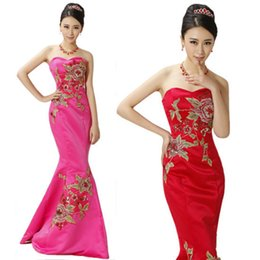 Wholesale In Stock Bridesmaid Dresses Embroidery Mermaid Prom Gowns Red Stain Corset Sweetheart Strapless Luxury Party dress Real Image Y DEHONG D