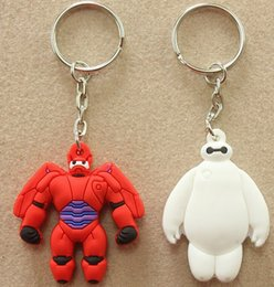 Wholesale keychain BIG HERO BAYMAX red and white Soft Rubber Robot dolls keychain toys chlidren birthday gift