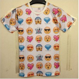 Wholesale Harajuku New Women Men Clothing Funny Cartoon Emoji Print D T Shirt Punk Camisetas O neck Short Sleeve Tee Shirts Crop Top latest new
