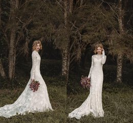 Wholesale Elegant Lace Bohemian Long Sleeve Wedding Dresses Sheer Neck Full Back Floor length A line Country Bridal Dresses Cheap Gown