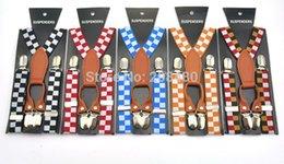 Wholesale 2 cm Wide Colors quot Plaid Checker quot Kids Suspenders Y Genuine Leather BOYS GIRLS Suspender Elastic Braces Good Clips Suspenders