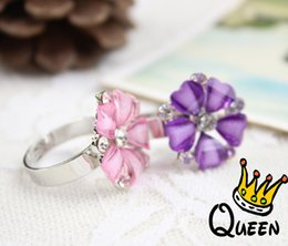 Wholesale Five diamond flower ring with multicolor jewel Korean fashion adjustable finger ring
