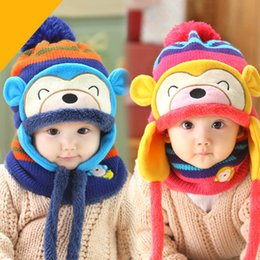 Wholesale Cartoon Monkey Design Baby Bonnet Hat and Scarf set Earflaps Plush Winter Hat with Ring Scarf set MZD