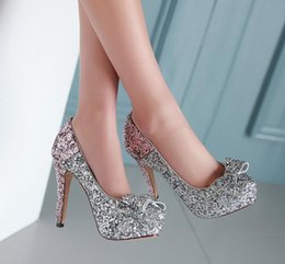 Wholesale 2015 women hot sale high heels prom wedding shoes lady platforms silver Glitter thin heel popular party pump
